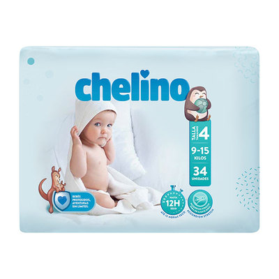 Chelino Pañal Bebé Talla 4 (9 a 15 kgs) 34 unidades